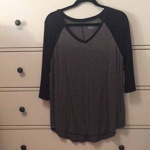 Gray and Black Top